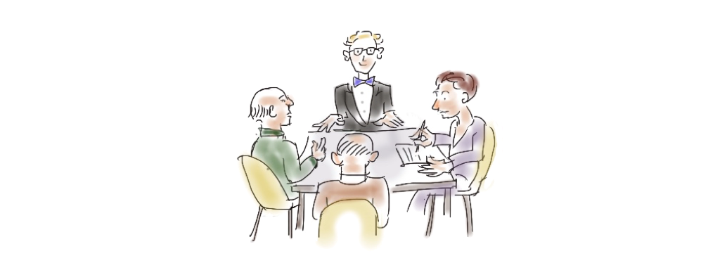 drawing of a caregiver group